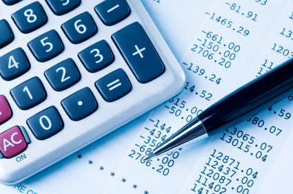 A bill and a calculator for accounting