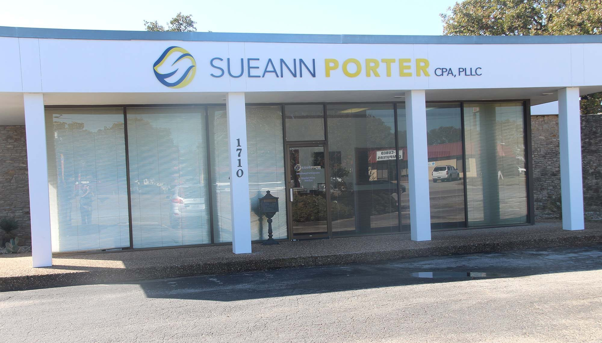 A storefront image of Sueann Porter CPA, PLLC in Stephenville, Texas